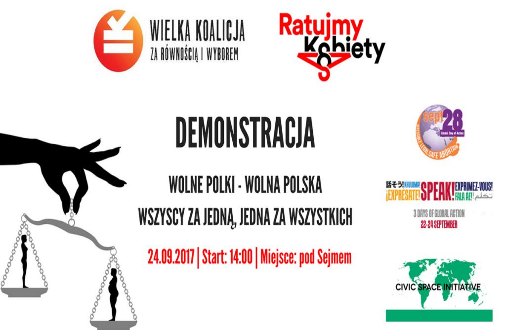 """Demonstracja za bezpieczną aborcją """"Wolne Polki - Wolna Polska. Wszyscy za Jedną, Jedna za Wszystkich"""""""