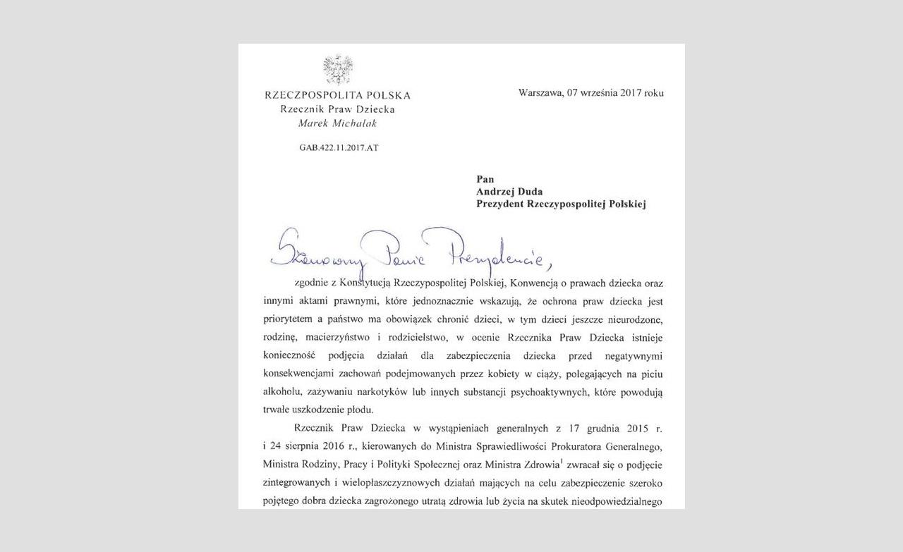 List RPD do Prezydenta w sprawie projektu ustawy
