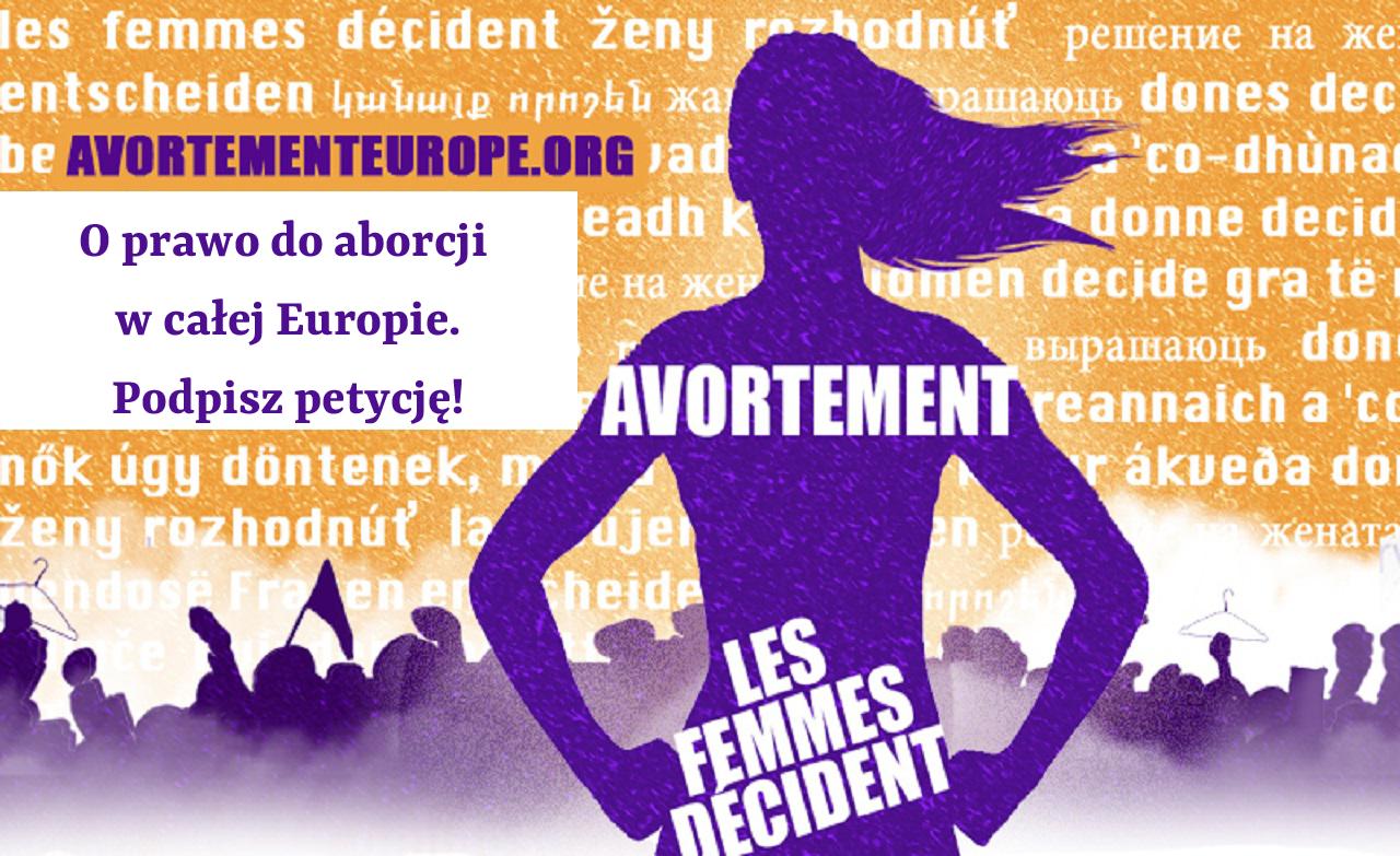 Grafika towarzysząca kampanii na rzecz prawa do aborcji w całej Europie