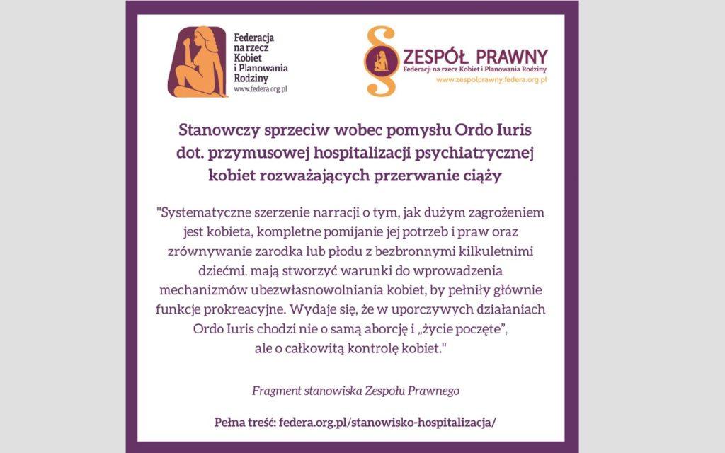 Stanowisko Federacji wobec pomysłu przymusowej hospitalizacji psychiatrycznej kobiet w ciąży