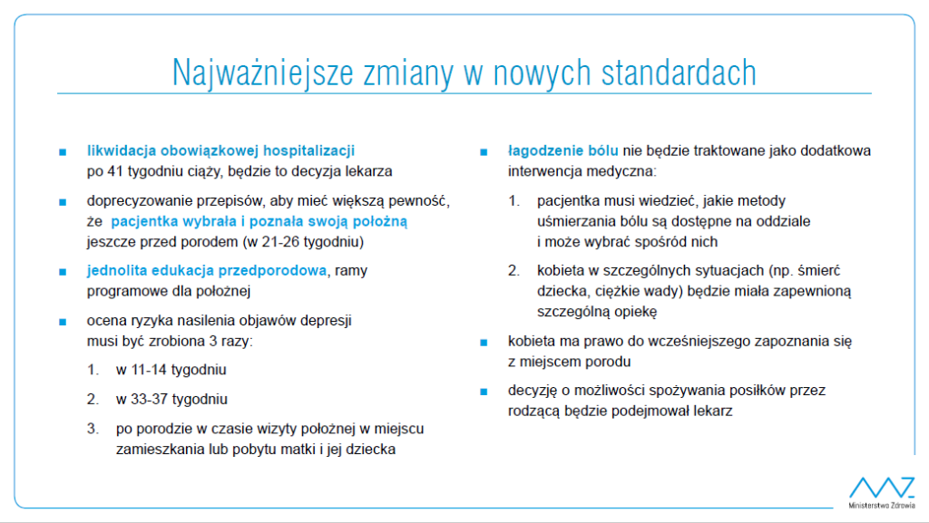Konsultacje nad nowymi standardami opieki okołoporodowej
