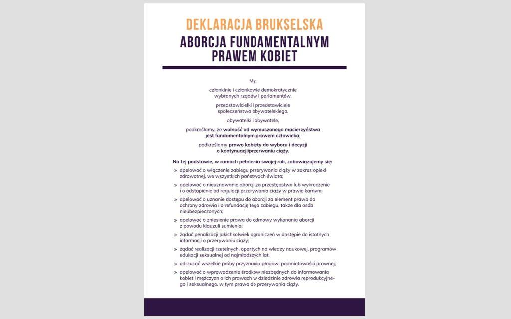Deklaracja Brukselska - podpisz międzynarodowy dokument pro-choice