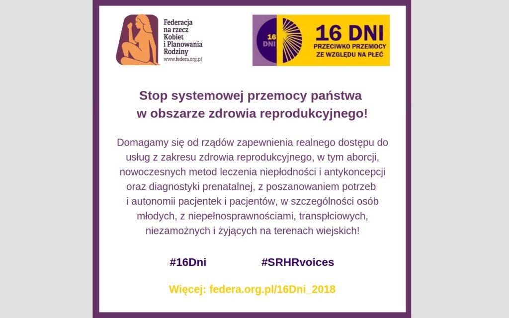 Stop systemowej przemocy państwa w obszarze zdrowia reprodukcyjnego!