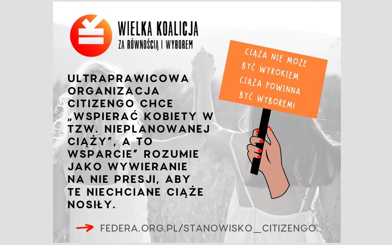 """Stanowisko Wielkiej Koalicji za Równością i Wyborem w sprawie kampanii outdoorowej CitizenGo """"Od początku"""""""