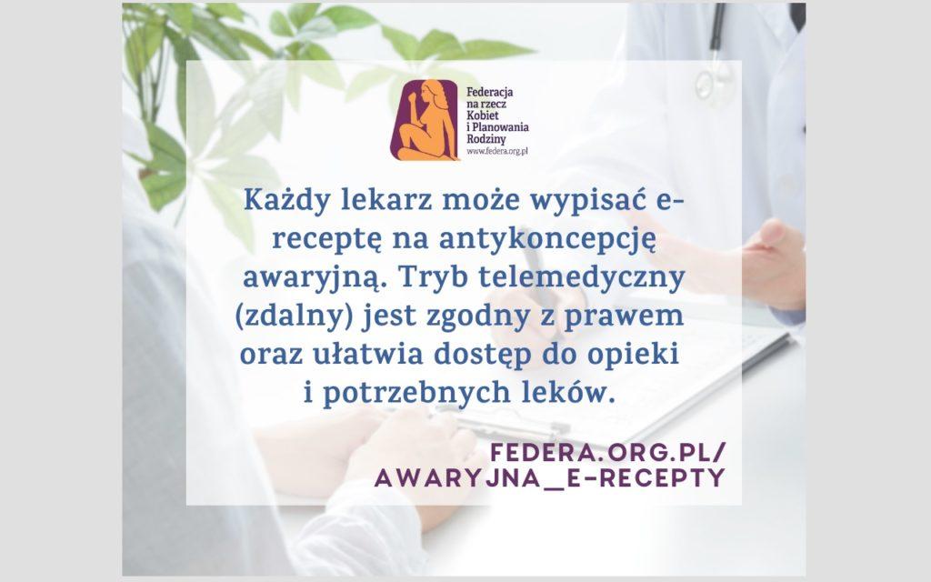 Każdy lekarz może wypisać e-receptę na antykoncepcję awaryjną. Tryb telemedyczny (zdalny) jest zgodny z prawem oraz ułatwia dostęp do opieki i potrzebnych leków.