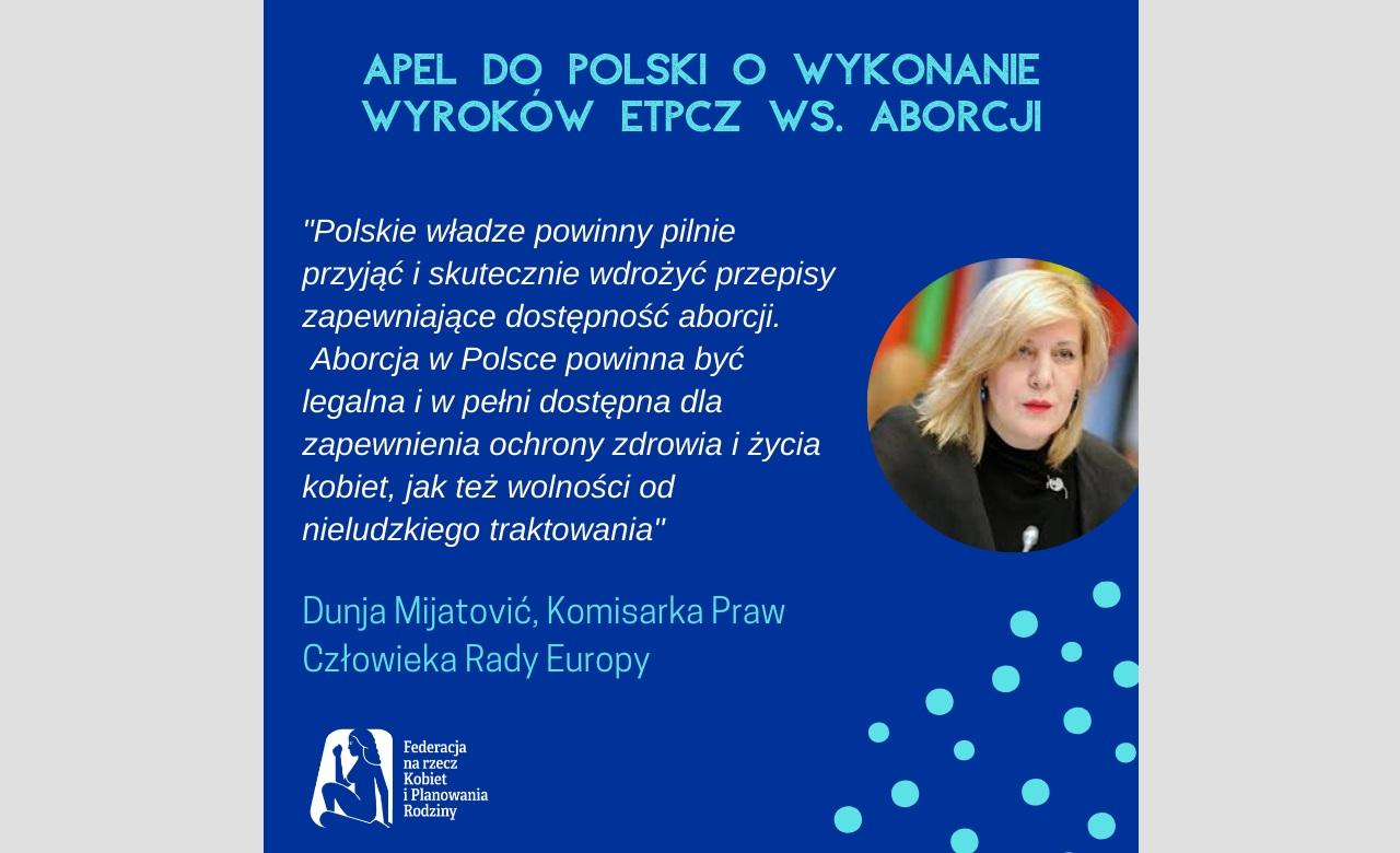 Komisarka Praw Człowieka Radu Europy apeluje do Polski
