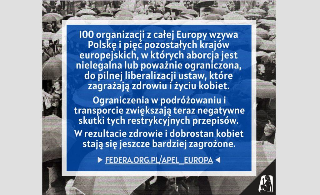 APEL ORGANIZACJI MIĘDZYNARODOWYCH: EUROPEJSKIE RZĄDY MUSZĄ ZAPEWNIĆ DOSTĘP DO ABORCJI W PANDEMII aborcji podczas pandemii
